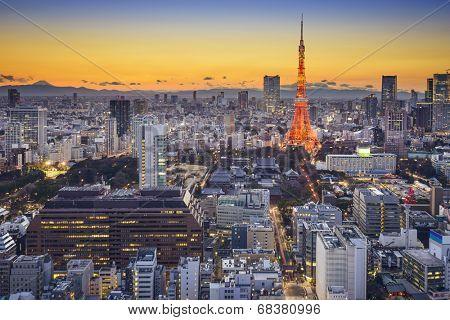 Tokyo, Japan skyline in Minato Ward.