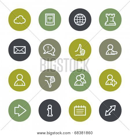 Social media web icons set, color buttons