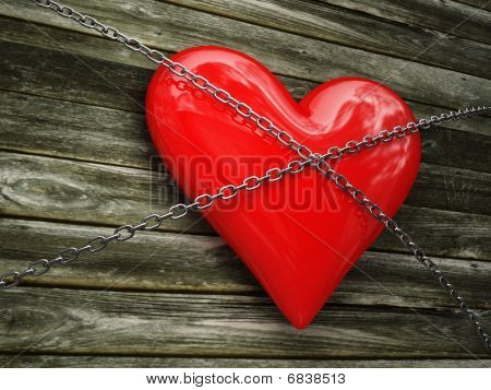 Red Heart And Metal Chain