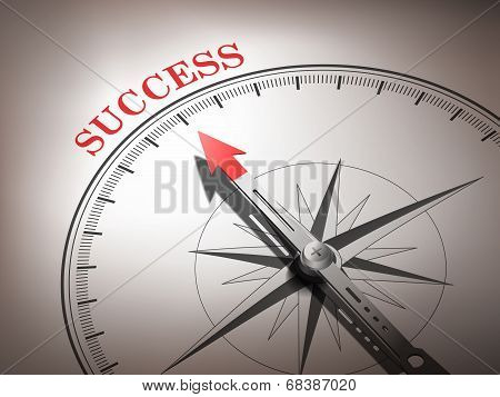 Abstract Compass With Needle Pointing The Word Success