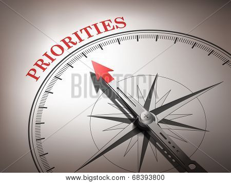 Abstract Compass Needle Pointing The Word Priorities