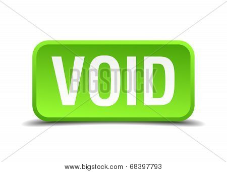 Void Green 3D Realistic Square Isolated Button