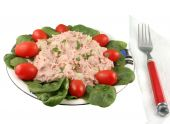 Healthy meal of tuna fish salad with cherry tomatoes and spinach on a white background poster