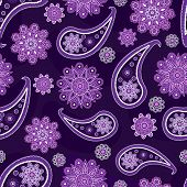 Seamless violet pattern with Turkish cucumbers and flowers poster