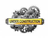 Under construction web page with gears and pinions for website reconstruction image poster