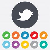Social media icon. Short messages twitter retweet symbol. Round colourful 11 buttons. Vector poster