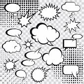 Comic speech bubbles and comic strip on monochrome halftone background vector illustration poster