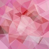 Abstract geometric pink background with triangular polygons, vector illustration poster