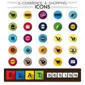 internet e-commerce shopping & business flat design vector icons set. The graphic also represents concepts like shopping cart online discount sale mobile buy sell goods badges poster