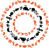 A set of black and orange signs and symbols - ecology and environment theme poster