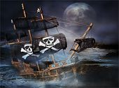 A Pirate Ghost Ship stranded on the rocks at sea with a big full moon poster