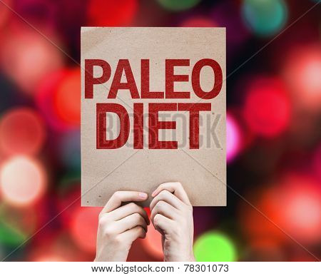 Paleo Diet card with colorful background with defocused lights