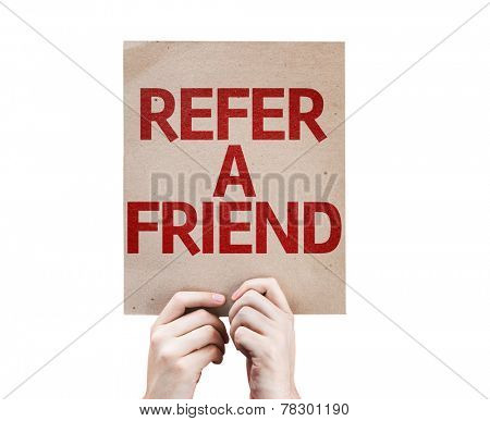 Refer a Friend card isolated on white background