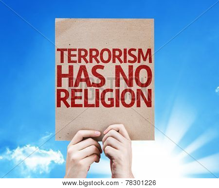 poster of Terrorism Has No Religion card with beautiful day