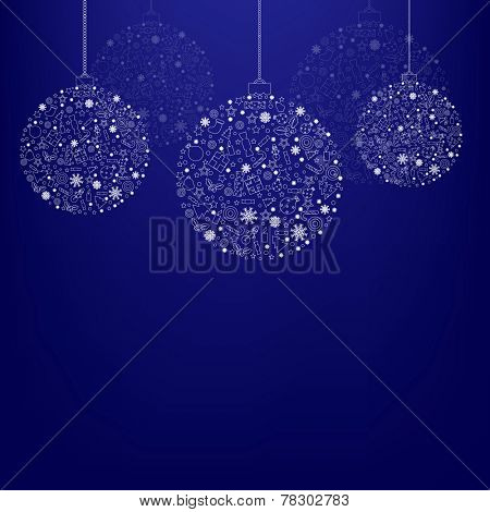 Blue Xmas Poster With Gradient Mesh, Vector Illustration