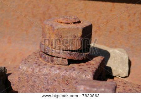 rusty railway iron bolt and nut