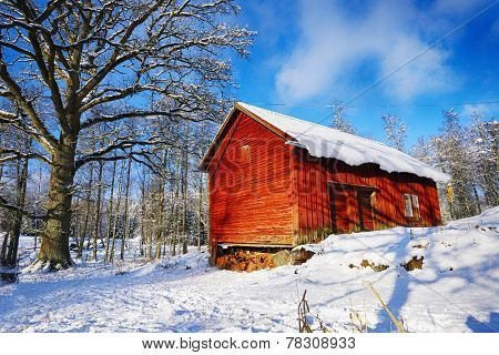 old rural barn, cottage, winter and snow scenery from Sweden