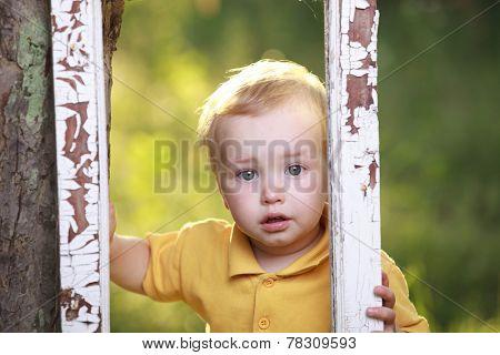Little boy crying  in garden.
