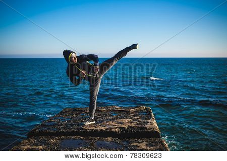 karate training on the shores of the  sea