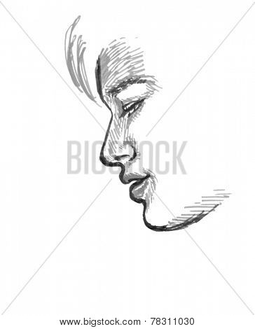 Sketch Of Boy, Side View Of Face, Hand Drawing In Grey Tones On White Background.