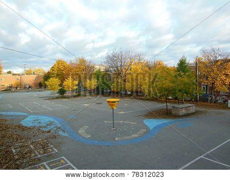 Schoolyard In Autumn