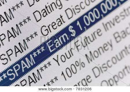 Large Macro Closeup Of Spam Folder Listing Window