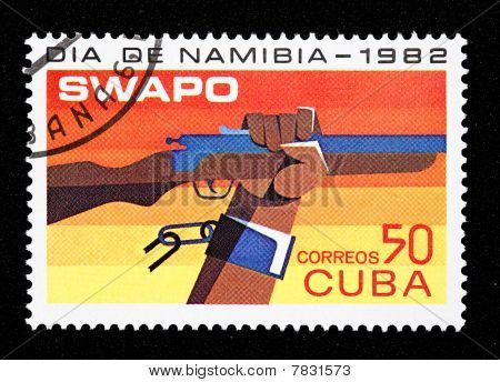 Cuban stamp of the SWAPO movement in Namibia poster