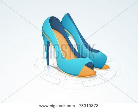 Women's heel sandal on stylish background. poster