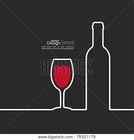 Ribbon in the form of wine bottle and glass with shadow
