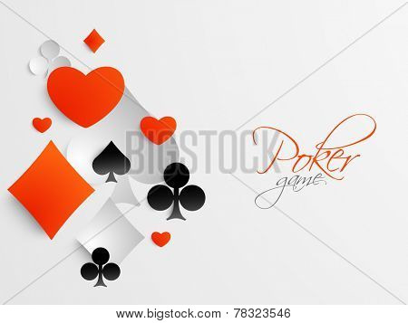 Casino playing cards symbols for poker game on grey background.