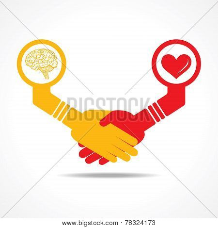 businessmen handshake between men having brain and heart stock vector
