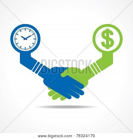 businessmen handshake between men having time and money stock vector