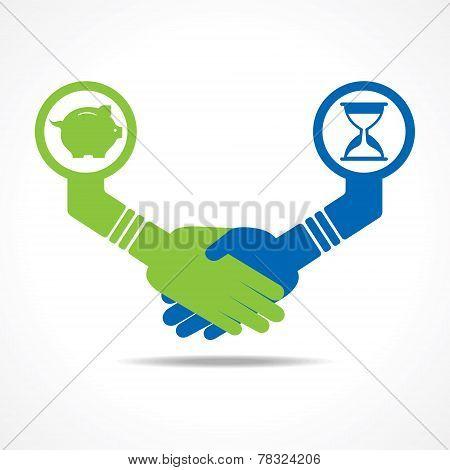 businessmen handshake between men having time and money stock vector