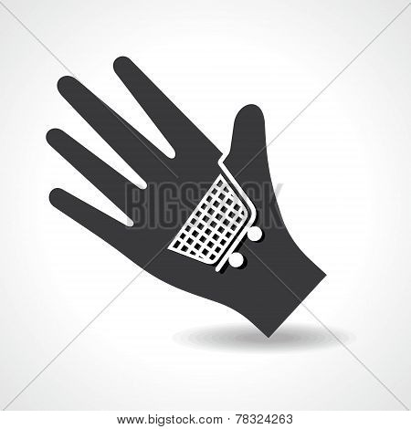 Human hand with shopping cart symbol concept stock vector