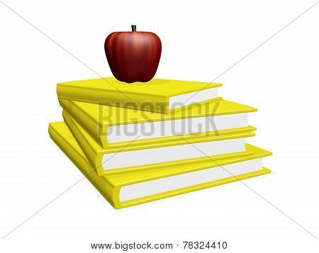 Red Apple On Pile Of Books