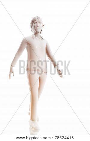 Man Walking.  White Background