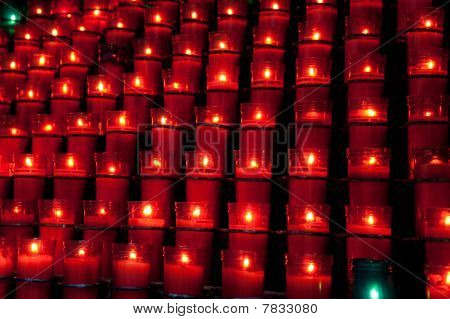 Rows Of Red Candles