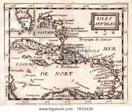 Antique Duval Map Of The West Indies