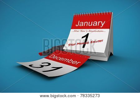 Composite image of new years resolutions on january calendar poster