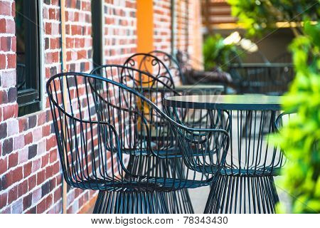 chairs on a patio in the garden