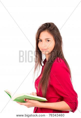 Young Latin Girl Holding Open Book
