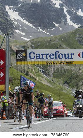 The Cyclist Geraint Thomason Col Du Lautaret - Tour De France 2014