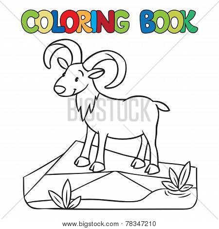 Coloring Book Of Little Funny Urial Or Ram