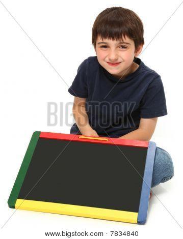 Happy Boy With Blank Chalkboard