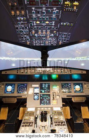 inside of homemade flight simulator cockpit
