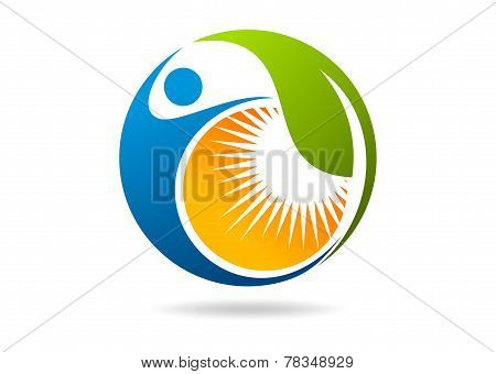 wellness Fitness Logo ,Natural Leaf Human Sun.