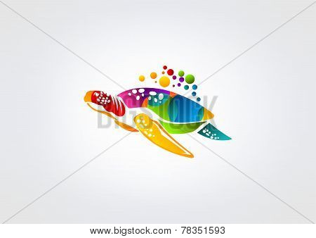 abstract colorful  turtle swimming sea isolated in grey background.