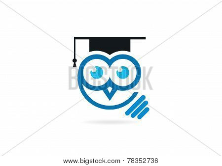 owl idea graduation logo design symbol vector