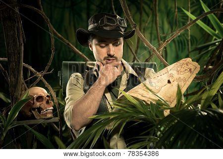 Lost Explorer Examining A Map