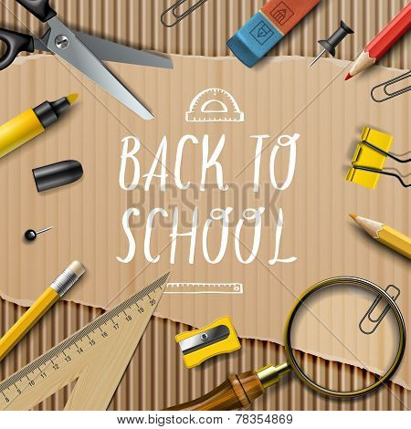 Welcome Back to school template with schools supplies on cardboard texture background